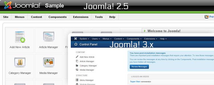 Screenshots van Joomla 2.5 en Joomla 3