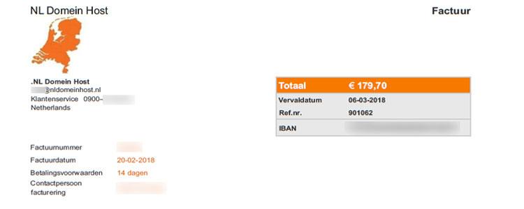 Voorbeeld nep-factuur NL domein host