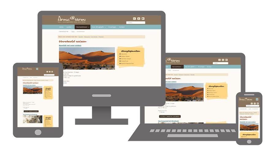 De website van nanotechno.nl op verschillende apparaten
